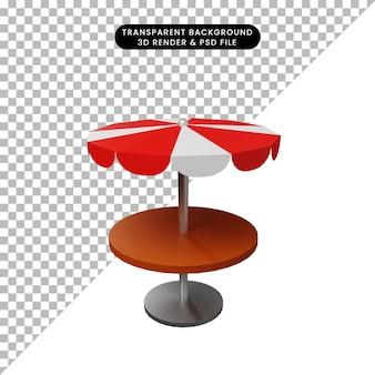 Illustrazione 3d del ristorante con tavolo da pranzo