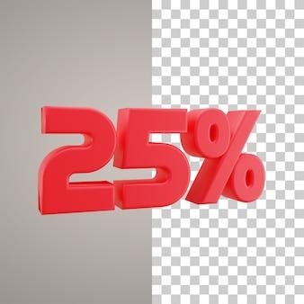 Illustrazione 3d sconto del 25 percento