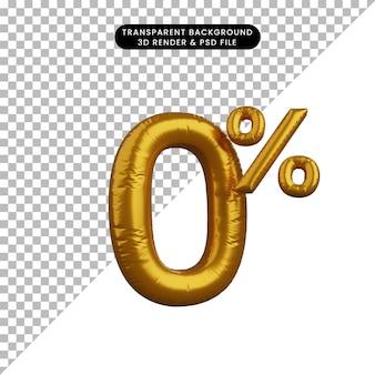 Illustrazione 3d del concetto di testo numerico del palloncino di sconto golden 0%