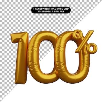 3d, illustrazione, di, sconto, numero, palloncino, testo, concetto, dorato, 100%