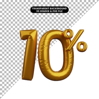 3d illustrazione del palloncino sconto testo numerico concetto golden 10%