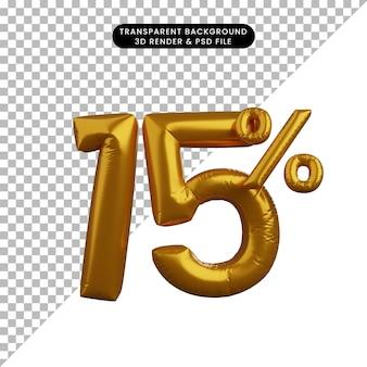 Illustrazione 3d del concetto di testo numerico del palloncino di sconto golden 15%
