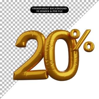 3d illustrazione di sconto numero di palloncino concetto di testo golden 20%