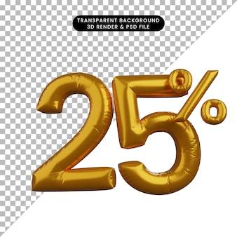 3d illustrazione del palloncino sconto testo numerico concetto golden 25%