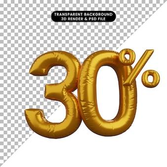 3d illustrazione di sconto numero di palloncino concetto di testo golden 30%