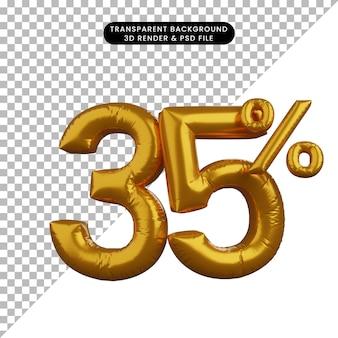 Illustrazione 3d del concetto di testo numerico del palloncino di sconto golden 35%