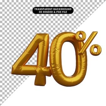 3d illustrazione di sconto numero di palloncino concetto di testo golden 40%