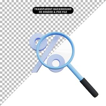 Icona sconto illustrazione 3d con zoom ingranditore