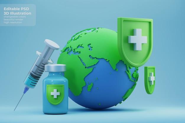 Illustrazione 3d della terra che ottiene la protezione del vaccino dalla malattia di coronavirus