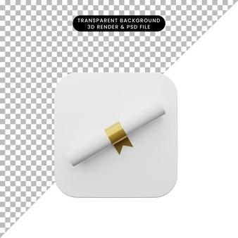 Illustrazione 3d dell'interfaccia utente dell'elemento dell'interfaccia utente semplice icona
