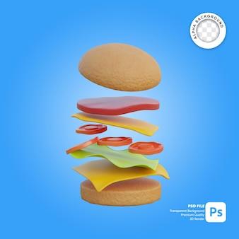 Illustrazione 3d di cibo hamburger che cade
