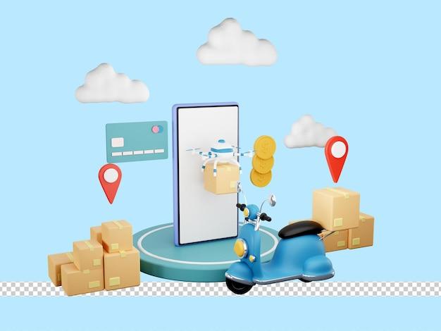 Illustrazione 3d del servizio di consegna veloce in scooter