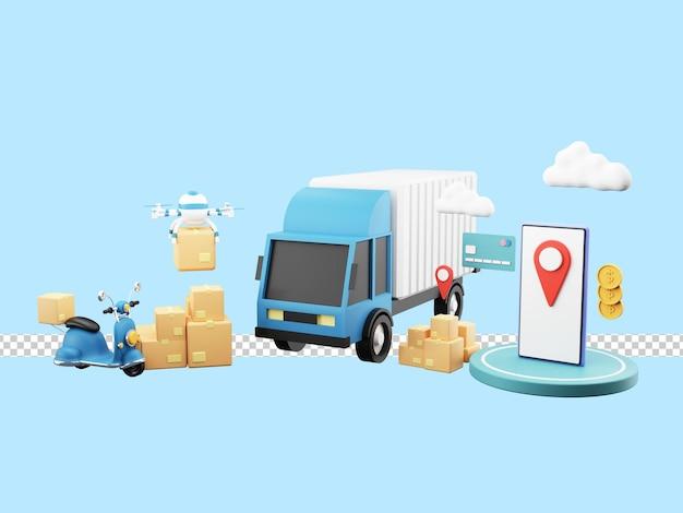 Illustrazione 3d del servizio di consegna veloce tramite camion, scooter, drone