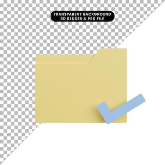 Icona della cartella di illustrazione 3d con lista di controllo