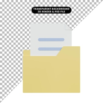 Icona della cartella di illustrazione 3d con file Psd Premium