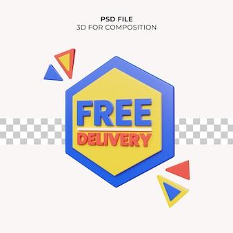 Illustrazione 3d consegna gratuita psd premium