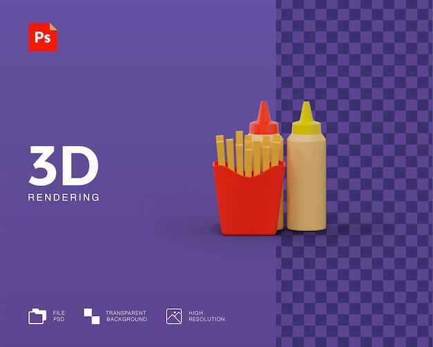 Patatine fritte con salsa di illustrazione 3d