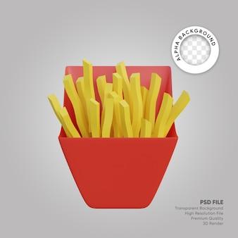 Patatine fritte illustrazione 3d