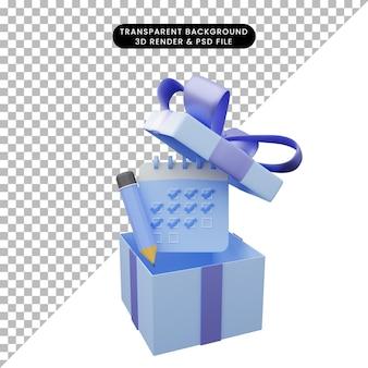 Illustrazione 3d della confezione regalo aperta con calendario e matita