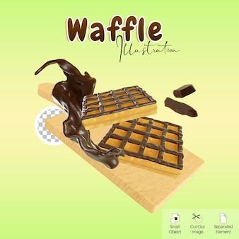 Illustrazione 3d waffle smaltato sul tagliere con splash e barretta di cioccolato per elemento carino