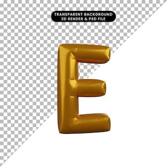 Illustrazione 3d dell'alfabeto del concetto di palloncino dorato e