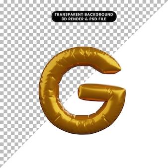 Illustrazione 3d dell'alfabeto del concetto di palloncino dorato g