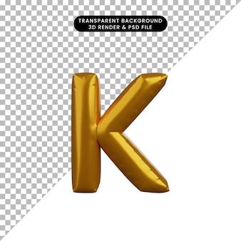 Illustrazione 3d dell'alfabeto del concetto di palloncino dorato k
