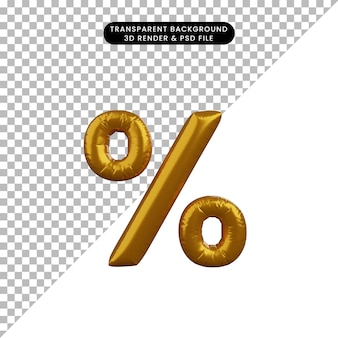 Illustrazione 3d della percentuale di alfabeto del concetto di palloncino dorato