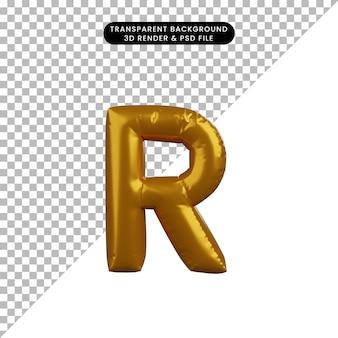 Illustrazione 3d dell'alfabeto del concetto di palloncino dorato r