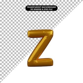 Illustrazione 3d dell'alfabeto del concetto di palloncino dorato z