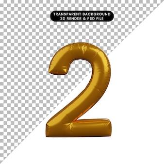 Illustrazione 3d del concetto di palloncino numero 2 d'oro