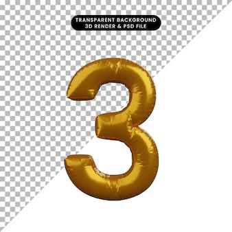 Illustrazione 3d del concetto di palloncino numero 3 d'oro