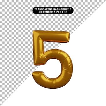 Illustrazione 3d del concetto di palloncino numero 5 d'oro