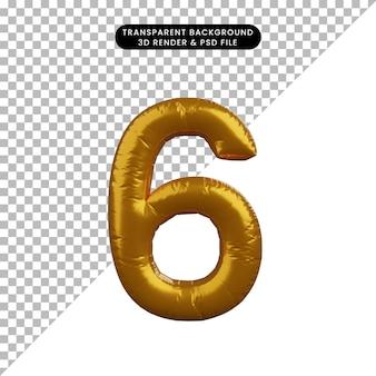Illustrazione 3d del concetto di palloncino numero 6 d'oro