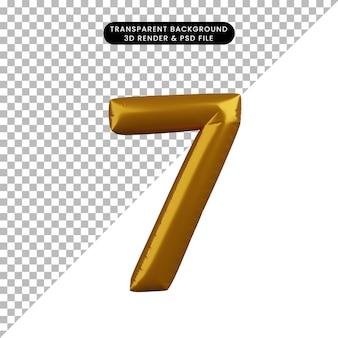 Illustrazione 3d del concetto di palloncino numero 7 d'oro