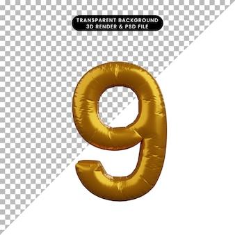 Illustrazione 3d del concetto di palloncino numero 9 d'oro