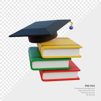 Illustrazione 3d del cappello e dei libri di laurea