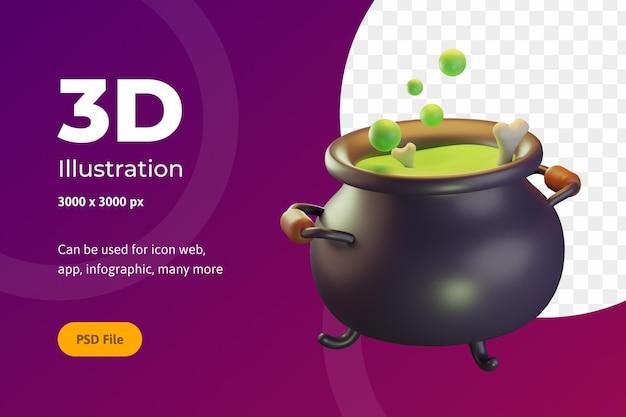 Illustrazione 3d halloween, pentola con osso, per web, app, celebrazione, ecc