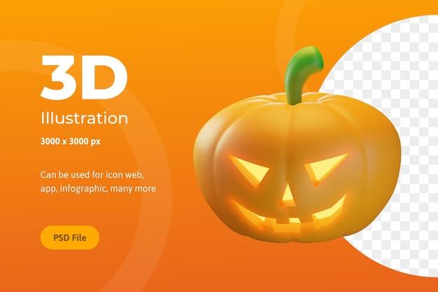 Illustrazione 3d, zucche di halloween con occhi e bocca, per web, app, feste, ecc