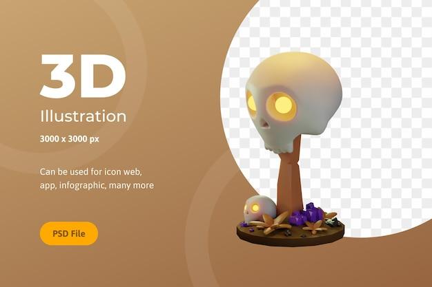 Illustrazione 3d halloween, teschio con legno, per web, app, celebrazione, ecc