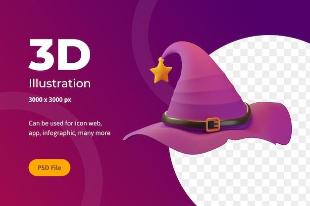 Illustrazione 3d halloween, cappello da strega con stella, per web, app, celebrazione, ecc