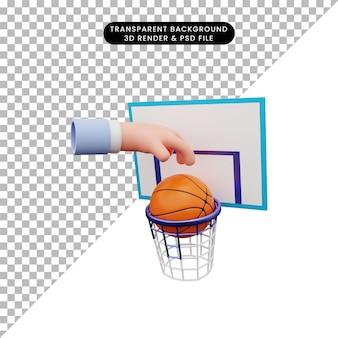 Illustrazione 3d della mano che fa l'anello di pallacanestro