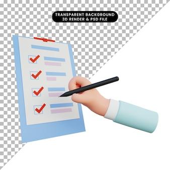 Mano dell'illustrazione 3d che fa la lista di controllo