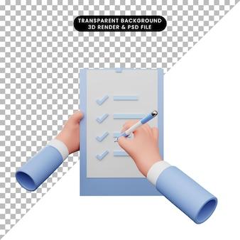 Illustrazione 3d della mano che fa la lista di controllo