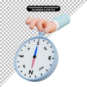 Bussola della holding della mano dell'illustrazione 3d