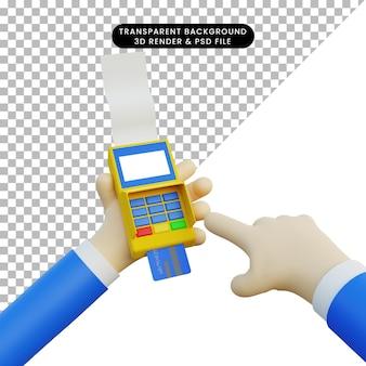 3d illustrazione mano che tiene la macchina edc facendo il pagamento
