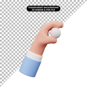 Illustrazione 3d della pallina da golf della tenuta della mano