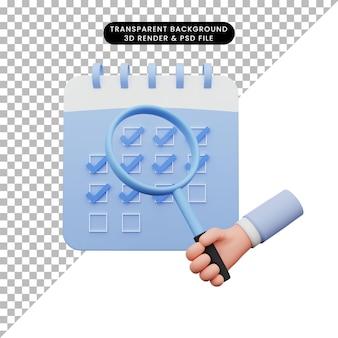 Illustrazione 3d della mano che tiene una lente d'ingrandimento alla lista di controllo del calendario
