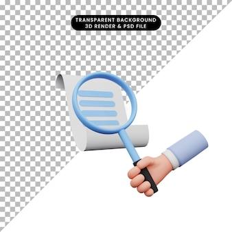 Illustrazione 3d della mano che tiene una lente d'ingrandimento alla lettera