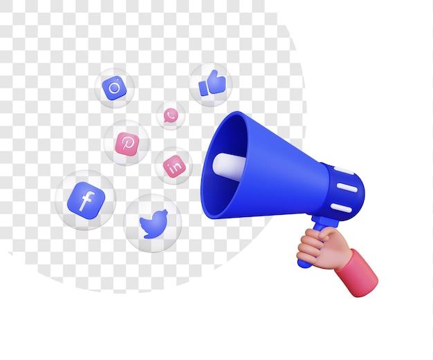 Illustrazione 3d di una mano che tiene un altoparlante del megafono e le icone dei social media all'interno di una bolla